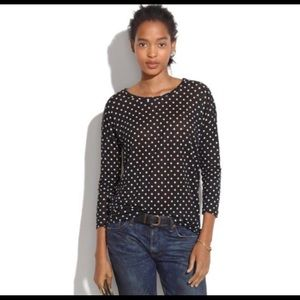 Madewell Linen Black White Polka dot 3/4 sleeve